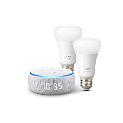 Echo Dot - Altoparlante intelligente con orologio e Alexa + Lampadine intelligenti a LED Philips Hue White, confezione da 2 lampadine, compatibili con Bluetooth e Zigbee (non è necessario un hub)