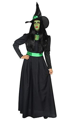 Foxxeo 40286 I Deluxe Traje de Bruja Verde Largo Noble Negro con Sombrero Damas Brujas Vestido de Bruja Carnaval Halloween Talla S - XXL, Talla:L