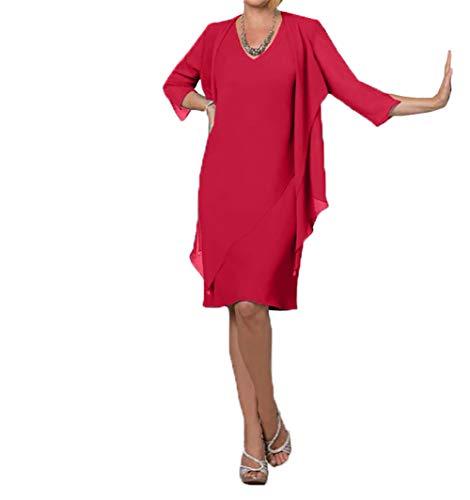 Royaldress Damen einfach Sommerkleider Damen Abendkleider mit Bolero Fuer Brautmutter hochzeitgastekleider knielang-44 Rot