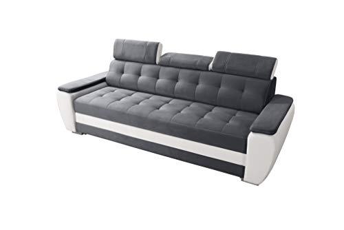 Robin Diana Sofa mit Schlaffunktion, Schlafsofa mit Bettkasten und Kissen, Freistehendes Couch, Polstergarnitur Sofa (Dark Grey/Ultra White)