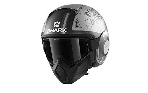 Shark Casco de moto STREET DRAK TRIBUTE RM Mat SAA, Negro/Gris, M