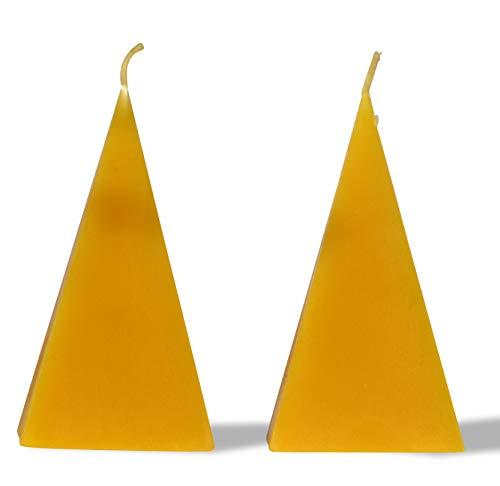 2 Kerzen PYRAMIDE Höhe 12 cm. BIENENWACHS KERZEN aus Imkerwachs - aus der Schwarzwälder Kerzenmanufaktur.