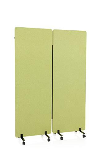 hjh OFFICE Lot de 2 cloisons de séparation acoustiques Mobiles 177 x 60 cm FLEXMIUT - en Tissu Vert - 891002