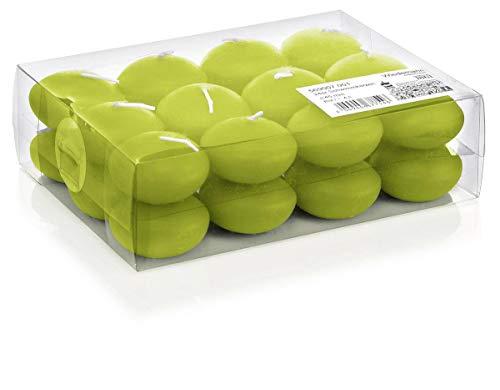 INNA-Glas Lot 2 x Lot de 24 Bougies flottantes - Bougies Chauffe-Plat Ornella, Vert Pomme, Ø4,5cm, 4h - Petites Bougies - Bougie de Mariage