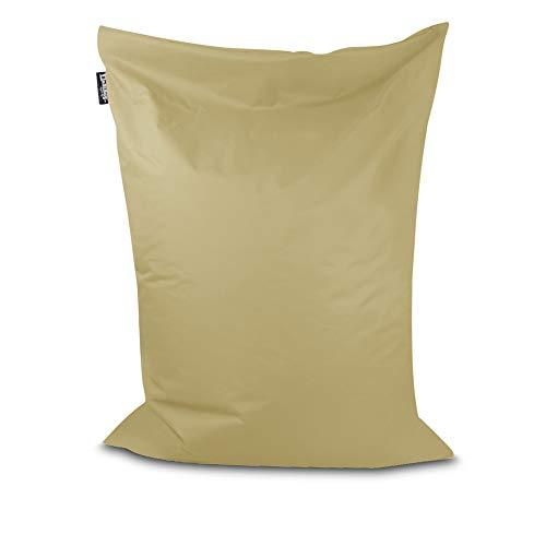 Sitzsack Bodenkissen Indoor Outdoor Riesensitzsack Größen & Farben wählbar Kinder Bean Bag Erwachsene Wasserabweisend Schmutzabweisend (Beige-100x70 cm)