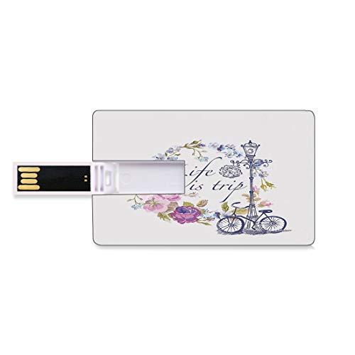 128G Unidades flash USB flash Decoración Shabby Chic Forma de tarjeta de crédito bancaria Clave comercial U Disco de almacenamiento Memory Stick La vida es viaje Cita inspiradora Guirnalda floral romá