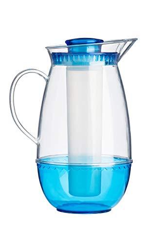 Premier Housewares Klar & blau Kanne mit Eiskammer - 2.5Ltr, PS - Polystyrol, 14x20x27