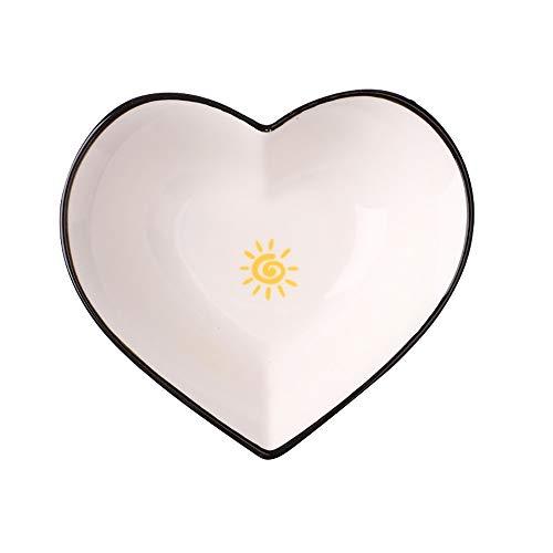 Navisli Lovely Warm Heart-Shaped Ceramic Sauce Bowl Plate - Suitable for Butter, Seasoning, Vinegar, Cake Snacks, Mustard, etc. (Style2)