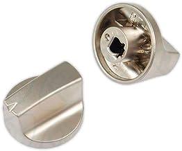 DOJA Industrial | Mando para cocinas y encimera TEKA 6x32 mm Silver | Eje 6 mm | Metalizado | Mando placa gas vitroceramica