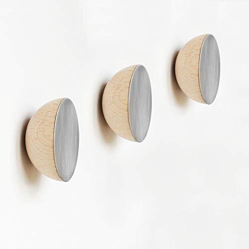 Set van 3 - Ø 6cm - Ronde Beukenhout & Aluminium Kapstok/Jashaak/Knop