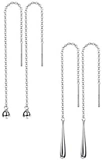 Milacolato 2 Pairs 925 Sterling Silver Ball Drop Dangle Long Chain Earrings for Women Girls Threader Tassel Thread Earrings Setngs for women Girls set