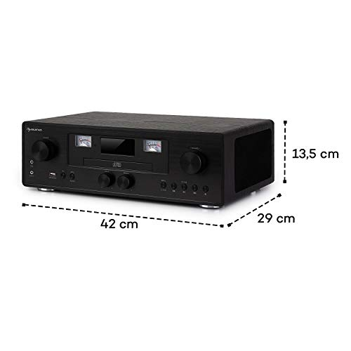 auna Northfork Black Edition - Equipo estéreo Retro, Reproductor CD-MP3, Dab+/FM, Bluetooth, AUX, USB, Vúmetro, Carga inalámbrica, Alarma, Temporizador, Control Remoto, Pantalla LCD, RDS, Negro