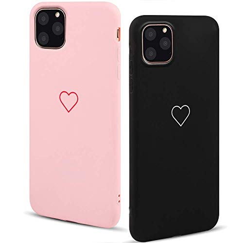 LAPOPNUT 2 Pack Hülle für iPhone 11 Cute Love Heart Hülle Matt Soft Silicone Slim TPU Handytasche Flexible Schutzhülle HandyHülle Back Cover Hülle für Apple iPhone 11