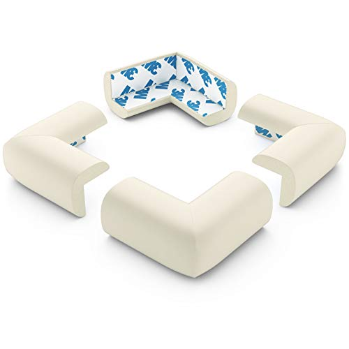 Foam Child Safety Corner Covers, PreTaped Baby Corner Guards, Off White, 12 Pack