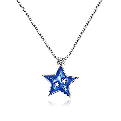 Hong Yi Fei-Shop Collares Collar de Luna Femenino de Plata esterlina Cadena de clavícula Estrella Colgante luz de Lujo Pareja Regalo joyería de Souvenir Collares para Mujeres (Color : B)