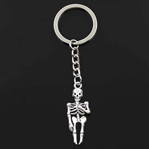 N/ A Schlüsselbund 41x15mm Schädel Mann Halloween Anhänger DIY Herren Silber Auto Schlüsselbund Ring