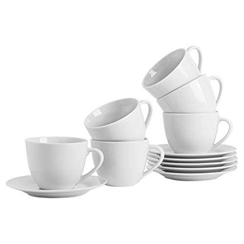 Argon Tableware Ensemble de Grandes Tasses à Cappuccino avec soucoupes Assorties Blanches - 320 ML (11 oz) - Ensemble de 6