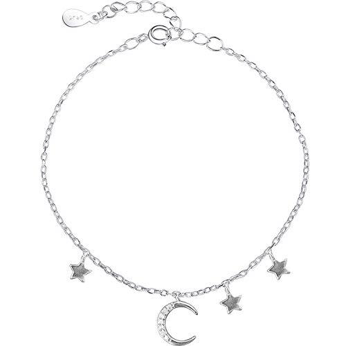 Diamante Intermitente Luna Curva Mini Estrella Borla Colgante S925 Pulsera De Plata Esterlina Regalo De La Joyería