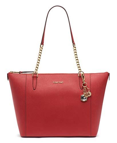 Calvin Klein Marybelle Saffiano Top Zip Tote, RED