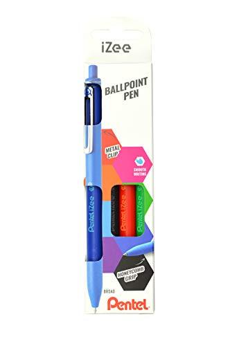 Pentel BX470-4 Kugelschreiber IZee, Druckmechanik, Metallclip, 1.0 mm Strichstärke, 4er Set: Schwarz, Rot, Blau, Grün