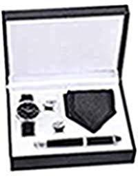 Souarts Herren Geschenkset mit Armbanduhr Füllfederhalter und Krawatte und Manschettenknöpfe Geschenkset für Herren Geschenk