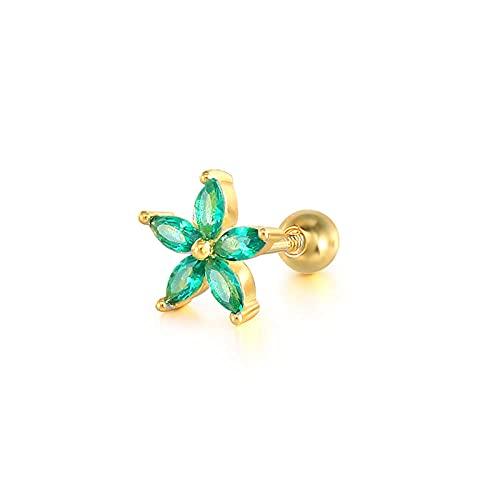 Pendientes Mujer 2Ps Mini Piercing Stud Pendientes para Parejas De Enamorados Regalo De San Valentín Pendientes Plata 925 Rainbow Zircon Helix Earring Jewerly Gold 1