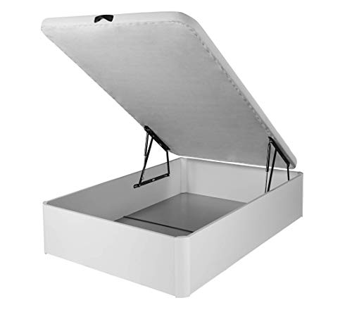DHOME Canape Abatible Tapizado 3D Blanco con Apertura Normal o Lateral Esquinas MACIZAS de Haya y 29cm de capapacidad canapé Madera (135x190 22mm)