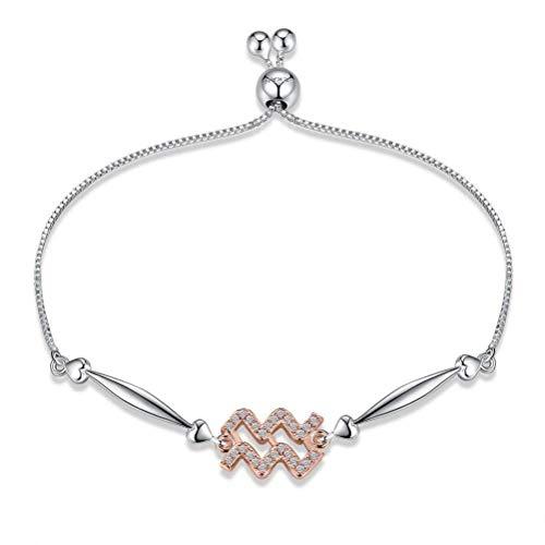 CWHao 12 Sternbild Sterling Silber Armband Wassermann Mode Armband, Platinum&White