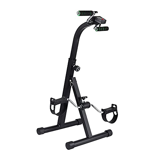 Ejercitador de pedal plegable, bicicleta estática con pantalla, máquina de terapia de entrenamiento físico para bicicleta de interior/Black / 84x38x35cm