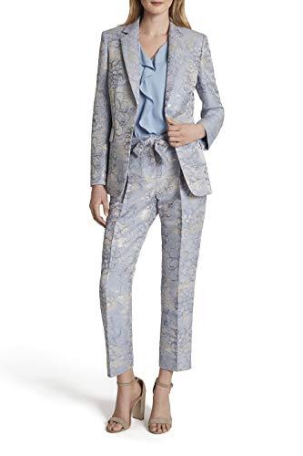 Tahari ASL Women's Two Button Flap Pocket Jaquard Jacket, Silver Blue Floral, 12