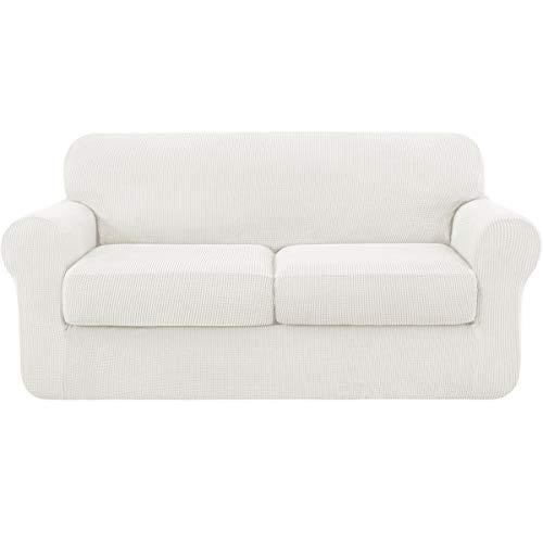 Subrtex - Funda de sofá extensible con funda de cojín de asiento, protector de sofá con reposabrazos elásticos, crema, 2 plazas