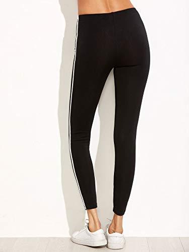 Shocknshop Black Ankle-Length Skinny Bottoms Women Mid Waist Casual Leggings for Women & Girls (Free Size, Black Striped Side)