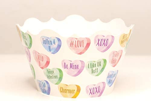 Conversation Hearts Party Supplies Cupcake Wrappers 12 Pack Valentine s Day Party Favors Cupcake product image
