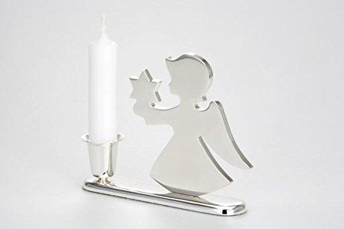 Cadeaux Ange Argent avec bougeoirs étoiles, INCL. Bougie et ternissement