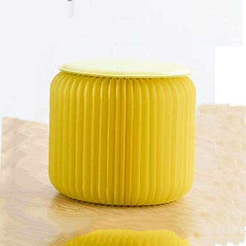Lsmaa Muebles Taburete Taburete Plegable Sofá Lateral cilíndrica heces (Color: Azul, tamaño: L) (Color : Yellow, Size : Medium)