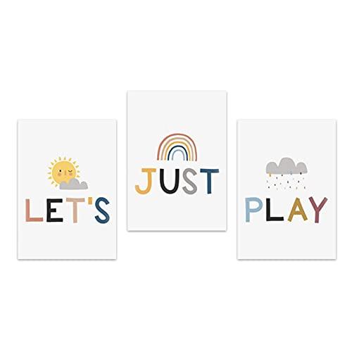 Murales 50x70cm 3 Piezas SIN Marco Sol Dibujos Animados Nube Arco Iris Lienzo Pintura Carteles e Impresiones Imágenes artísticas de Pared para la Sala de Estar Decoración del Dormitorio del bebé