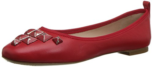 Marc Jacobs Women's Cleo Studded Ballerina Ballet Flat, Red, 36 M EU (6 US)