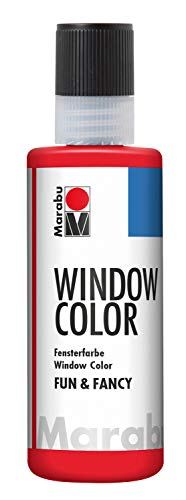 Marabu 04060004031 - Window Color fun & fancy, transparante verf op waterbasis, verwijderbaar op gladde oppervlakken zoals glas, spiegels, tegels en folie, 80 ml, kersenrood