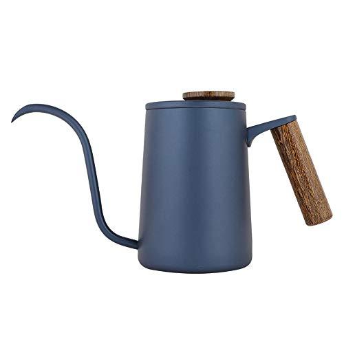 Fdit 600 ml Mode acero inoxidable mango goteo Cafetera, cuello de cisne largo, hervidor de agua, paquete reutilizable socialme-eu(azul)