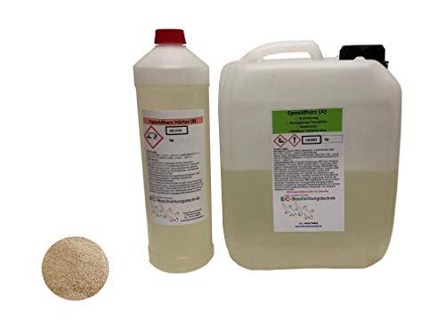 3KG 2K Epoxidharz Steinteppich Grundierung Set mit 3kg feugetrockneter Quarzsand für bis zu 10m² Tiefgrund Bodengrundierung