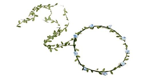 Qingsun Donna Ragazza Copricapo Corona sposa damigella d' onore Bracciale Fascia per capelli capelli corona testa fiore, azzurro, 26 cm