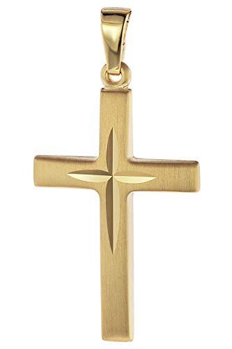 trendor Kreuz-Anhänger 585 Gold/14 Karat 31 x 16 mm Damen und Herren Anhänger Gold, Kreuzanhänger Echtgold, tolle Geschenkidee, eleganter Schmuck aus Gold 75087