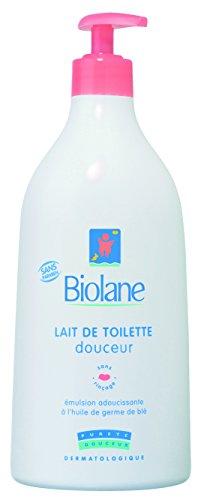 Biolane - Lait de Toilette Douceur - Nettoyant pour le visage, le corps et le siège des bébés - pompe 750 ml