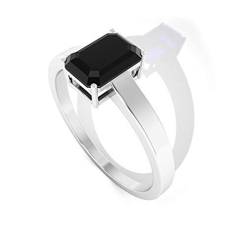 Anillo solitario de espinela negro con certificado SGL de 1,1 ct, forma octogonal, anillo de aniversario de boda, declaración de mujeres, anillo único de promesa de novia, 14K Oro amarillo, Size:EU 70