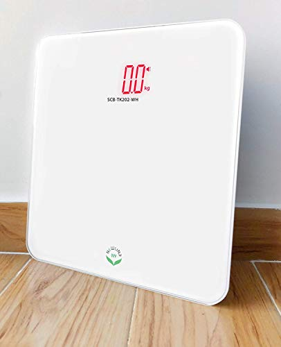 NewlineNY Voice Talking Digital Bathroom Scale Easy Auto Step-on Auto Off Technology, White, Lb or Kg, 400lb Capacity