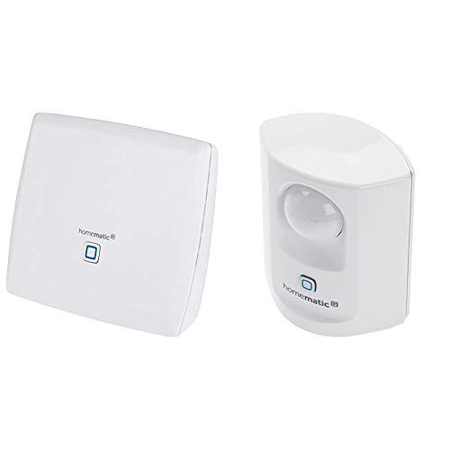 Homematic Smart Home Zentrale CCU3 inklusive mediola AIO CREATOR NEO Lizenz, 151965A0, Weiß & Homematic IP Smart Home Bewegungsmelder mit Dämmerungssensor – innen, 142722A0