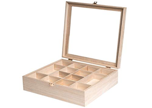 Caja de madera con vitrina de 32 x 32 x 10 cm. y separadores de doble altura, Acabados de gran calidad. Madera natural