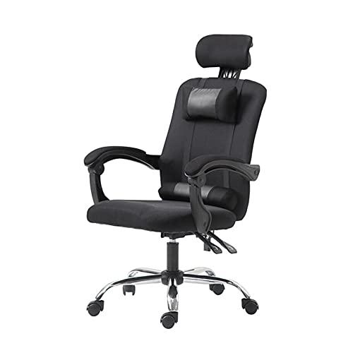 QJN Bürostuhl Computer Chair Executive Bürostuhl Computer Bürostuhl Spielstuhl, Rückenlehne Gaming Stuhl Haus Ergonomisch Mesh Stuhl Schwenkstuhl Stahlfuß Black+footrest