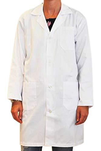 BSPOT Bata Médico Manga Larga Blanco Bata de Laboratorio Enfermera Sanitaria de Trabajo para Médicos Mujer (S)