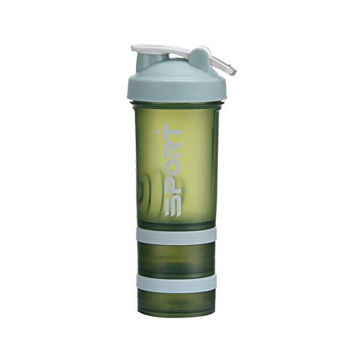 Botella Mezcladora De ProteíNas De con Caja De Almacenamiento De Bolas Mezcladoras Botella De Agua Botella Mezcladora De ProteíNas Botella Mezcladora para Batidos De Fitness,Verde